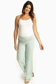 Mint-Green-Maternity-Linen-Pants