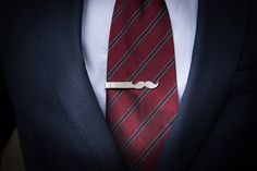 Mustache tie clip // sterling silver // personalized on the back