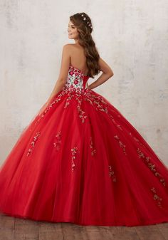 Embroidery and Beading on a Tulle Quinceañera Ball Gown | Valencia Style 60014 | Quinceanera Dresses by Morilee designed by Madeline Gardner. Gorgeous Floral Embroidey Takes Center Stage on This Tulle Quinceañera Dress with Corset Back.