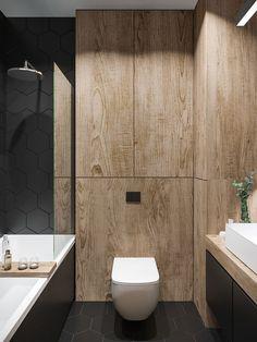 39 Simple Wooden Bathroom Design - 2020 Home design Wooden Bathroom, Small Bathroom, Bathroom Showers, Luxury Interior Design, Bathroom Interior Design, Modern Interior, Ideas Baños, Luxury Bathtub, Luxury Bathrooms