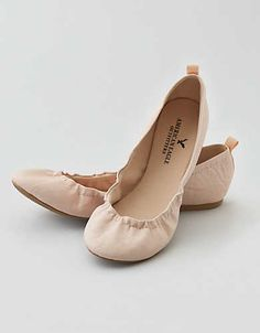 AEO Classic Scrunch Ballet Flat , Nude | American Eagle Outfitters