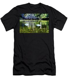 Two Men's T-Shirt (Athletic Fit) featuring the photograph Swans At The Lake by Cynthia Guinn