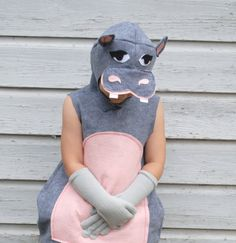 Handmade Hungry Hippo Costume Pink Grey Gray Zoo Animal  Hippopotamus Halloween School Play Dress Up Gift Idea Jungle Book