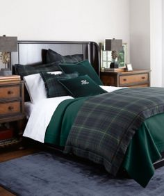 Ralph Lauren Duke Bedding, In The Duke Bed Collection, Heritage Inspired  Green Tartan Plaid And White Damask Sheets Come Together In Inimitable Ralph  Lauren ...
