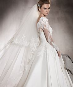Pronovias > ALHAMBRA - Mikado wedding dress with lace, bateau neckline and gemstones