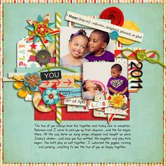 These photos are adorable and really make the layout so joyful! Great use of elements and the depth of the shadows make this layout shine!