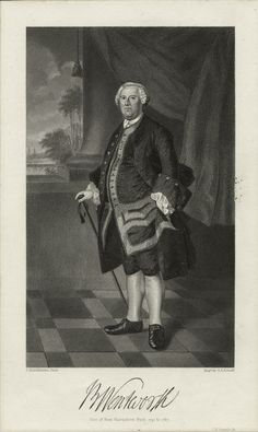 """""""Benning Wentworth,"""" (Governor of New Hampshire from 1741 to engraved by S. Schoff, after a painting by Joseph Blackburn, New York Public Library Print Collection. New York Public Library, Almost Always, Portsmouth, New Hampshire, Vignettes, Joseph, Original Art, Drawings, Illustration"""