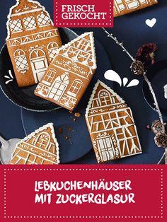 Lebkuchenhäuser mit Zuckerglasur Sugar, Cookies, Desserts, Food, Play Dough, Treats, School, Weihnachten, Crack Crackers