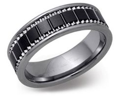 7mm Tungsten Carbide and Black Ceramic Ring