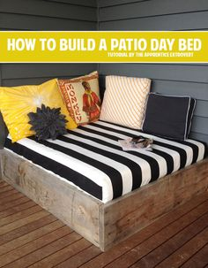 How to build a patio day bed - lots of outdoor DIY projects!