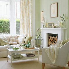 Another Laura Ashley living room. Cream, white,and the palest green. Love it!