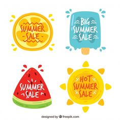 9c2ad5823cce6 Background of summer stickers with watermelon and ice cream Free Vector  Watermelon Illustration