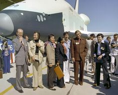 NASA article: The Science of Star Trek ~ NASA's Armstrong Flight Research Center, formerly Dryden, hosted the Star Trek crew in 1976 for the rollout of Enterprise. Nasa Pictures, Astronomy Pictures, Nasa Photos, Nasa Images, Space Images, Space Photos, Nasa Stars, Space Shuttle Enterprise, Accenture Digital