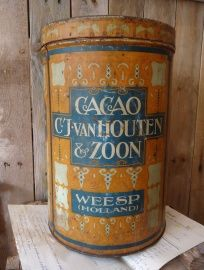 A Dutch van Houten Chocolat Tin Large Grocery example in rich colours is in my Collection and not for Sale
