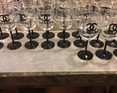 Chanel Themed Cups set of 12 by MayoDesignCo on Etsy