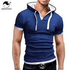 Men's tシャツ2017夏のファッションフード付きスリング半袖tシャツ男性カミーサmasculina tシャツスリム男性4xlトップス