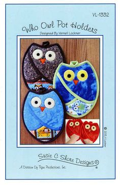 Who Owl Pot Holders by Susie C Shore. Premium Sewing Outlet