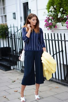Autumn/Fall street style Yellow coat, culottes, white mules, navy stripe jumper Fashion Blogger EJSTYLE