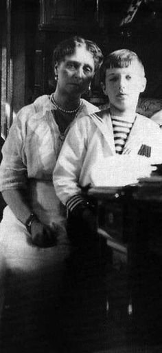 Empress Alexandra and Tsarevich Alexei.  This photo reveals the depth of stress and worry the Tsarina had been wracked by with the serious illness of her son.