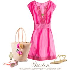 pink dress, created by stacy-gustin on Polyvore