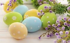 Download wallpapers Easter eggs, colored eggs, spring flowers, spring, Easter, willow