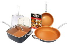 Gotham Steel 1371 Tastic Bundle 7 Piece Cookware Set Titanium Ceramic Pan Copper * You can find more details by visiting the image link. (This is an affiliate link) Kitchen Cookware Sets, Kitchen Utensils, Kitchen Dining, Gotham Steel, Ceramic Coating, Cast Iron Cookware, Kitchenware, Cool Things To Buy