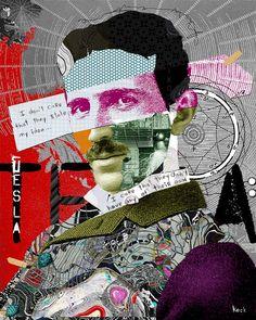 Nikola Tesla : Celebrity Art & Famous Faces Portraits by Michel Keck. Nikola Tesla Art: Nikola Tesla Original Collage Art and Nikola Tesla Art Prints by Michel Keck. Paper Collage Art, Collage Art Mixed Media, Collage Artwork, Face Collage, Quote Collage, Nikola Tesla, Collages, Tattoo Foto, 3d Camera