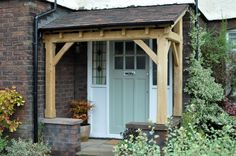 Home Renovation Porch Oak Carpentry Lancashire, English Oak Timber Framed Buildings . Porch Oak, Porch Timber, Front Door Porch, Front Porch Design, Side Porch, Porch Canopy, Door Canopy, House With Porch, House Front