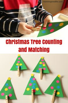Christmas Tree Counting and Number Matching works on counting, number identification, 1:1 correspondence and fine motor skills!