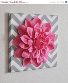 """MOTHERS DAY SALE Pink Wall Flower -Bright Pink Dahlia on Gray and White Chevron 12 x12"""" Canvas Wall Art- Baby Nursery Wall Decor-"""