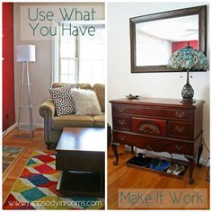 I find so much pleasure in shopping my house, using what I have, and making things work instead of immediately going out and replacing it with something new. Check out how I bit the urge for automatic new updates and make things work - and I love the result! | www.rappsodyinrooms.com