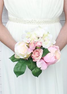 """Hydrangea, Rose, and Peony Silk Wedding Bouquet in Pink and Cream<br>11"""" Tall"""