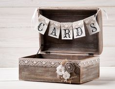 Rustic Wedding Card Box Holder With Burlap And Lace Cards Banner Wooden Chest…
