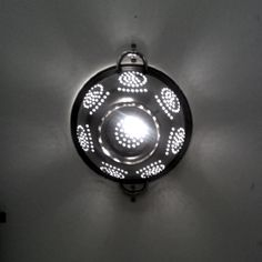 Colander as lightshade.