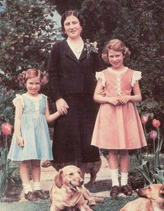 .The Queen Mother with Princess's Elizabeth and Margaret