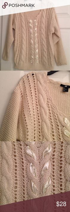 H&M RIBBON SWEATER Beautiful beige H&M sweater with satin ribbon laced through in front. Fantastic shade that works with many other colours..Really pretty knitting! Scalloped neckline and sleeve cuffs. In excellent condition! H&M Sweaters Crew & Scoop Necks