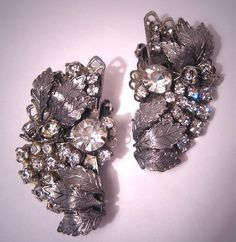 Fabulous Large Vintage Rhinestone Earrings Designer Signed Filigree. $199.00, via Etsy.