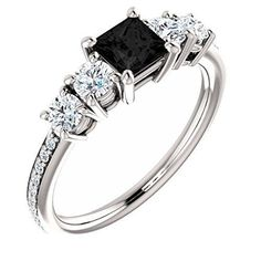 Platinum Princess Cut Black Diamond Engagement Ring – 1.54 Ct.by GIM Flex – See…