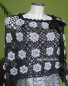 """Magia do Crochet: Elegância no fio """"Elegance"""" - poncho em crochet"""