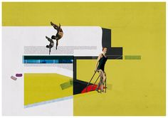 The pool - art print - mixed media digital collage. $30.00, via Etsy.
