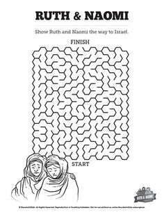 Ruth and Naomi Bible Mazes: Can your kids find their way through this maze and show Ruth and Naomi the way to Israel? Fun, with just enough challenge, this printable Ruth and Naomi Bible activity is a great compliment to your Sunday school lesson.