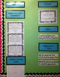Example of posted goals - Math Bulletin Board - and check out her website - way cool for a ath teacher!!