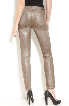 Paige Denim 'Verdugo' Skinny Metallic Stretch Jeans (Russet Wash)   Nordstrom - StyleSays