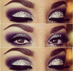 Smokey eye makeup studded with rhinestones ♡
