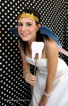Easy DIY Tooth Fairy Costume, gold glitter star crown and tooth wand!