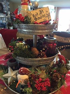 Curly Willow Home Accents 3 Tier Galvanized Round Serving Trays with White Handle Christmas Kitchen, Primitive Christmas, Country Christmas, All Things Christmas, Christmas Home, Christmas Holidays, Christmas Crafts, Farmhouse Christmas Ornaments, Christmas Design