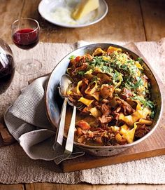 The rich boar ragu is complemented by a zesty lemon pangrattato in this slow-cooked recipe. Wild Game Recipes, Fall Recipes, Slow Cooker Recipes, Cooking Recipes, Slow Cooking, Meat Recipes, Delicious Magazine, Recipes For Beginners, Pasta Dishes