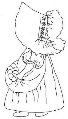sunbonnet farm girl - I used this pattern to make a quilt for my granddaughter. Each square had a Sunbonnet Sue on it in different colors - all on a white background. Hand Embroidery Patterns, Applique Patterns, Vintage Embroidery, Applique Quilts, Embroidery Applique, Cross Stitch Embroidery, Quilt Patterns, Machine Embroidery, Embroidery Designs