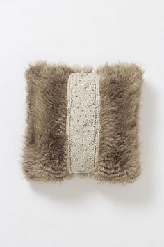 Cable-Knit Shag Pillow, Square - eclectic - pillows - Anthropologie Would be perfect for the bedroom decor Eclectic Decorative Pillows, Knit Pillow, Pillow Talk, Fur Pillow, Textiles, Office Accessories, How To Make Pillows, Cable Knit, Home Crafts