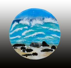 "Rocky Beach, approx. 16"", fused glass mounted on aluminum Fused Glass, Stained Glass, Art Studios, Art Gallery, Landscape, Interior Design, Beach, Decor, Cast Glass"